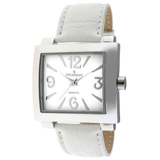 Peugeot Women's Silver-Tone White Leather Strap Watch