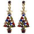 Sweet Romance Jeweled Christmas Tree Earrings
