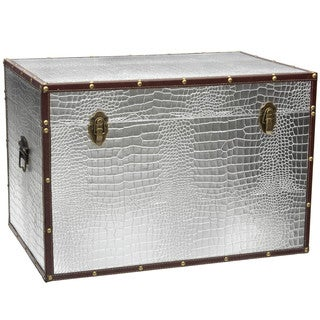 Silver Faux Leather Crocodile Trunk