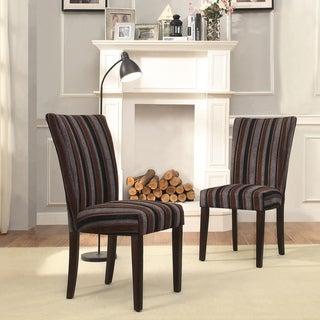 INSPIRE Q Catherine Dark Tonal Stripe Parsons Dining Chair (Set of 2)