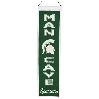 NCAA Michigan State Spartans Wool Man Cave Embroidered Banner