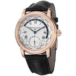 Frederique Constant Men's 'World Timer' Silver Dial Black Strap Watch
