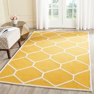 Safavieh Handmade Moroccan Cambridge Gold/ Ivory Geometric Wool Rug (9' x 12')
