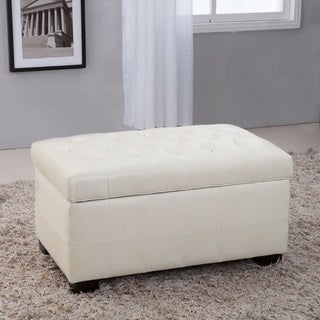 Royal Comfort Collection Traditional Creamy White Tufted Storage Bench Ottoman