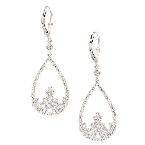 La Preciosa Sterling Silver Open Teardrop Diamond Dangle Earrings