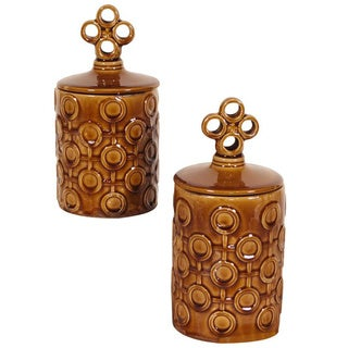 Mocha Brown Textured Ceramic Jars with Lids (Set of 2)
