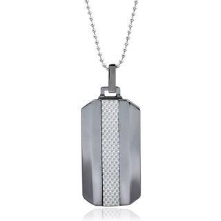Vance Co. Men's Tungsten Grey Fiber Inlay Dog Tag Pendant