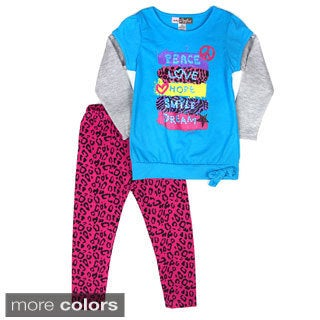 Girls 'Peace and Love' 2-piece Set