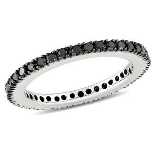 Miadora 18k White Gold 3/8ct TDW Black Diamond Eternity Ring