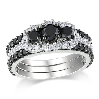 Miadora 14k Gold 2ct TDW Black and White Diamond Bridal Set (H-I, I2-I3)