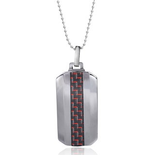 Vance Co. Men's Tungsten Red Fiber Inlay Dog Tag Pendant