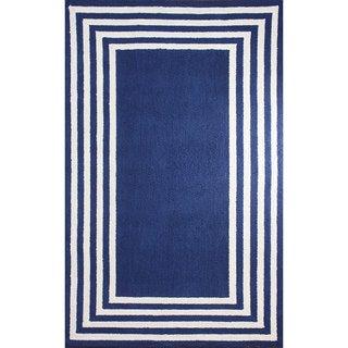 nuLOOM Stripe in Stripe Blue Border Rug (5' x 8')