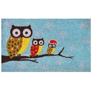 Cozy Owls Coir with Vinyl Back Doormat (1'5 x 2'5)