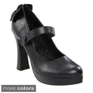 Ellie Women's '425-Glenda' Black Chunky Heel Mary Jane Pumps