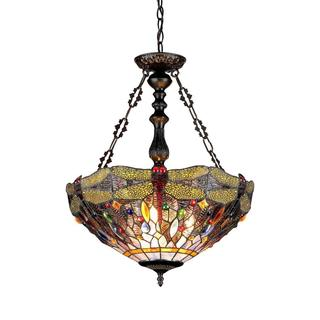 Tiffany Style Dragonfly Design 3-light Pendant