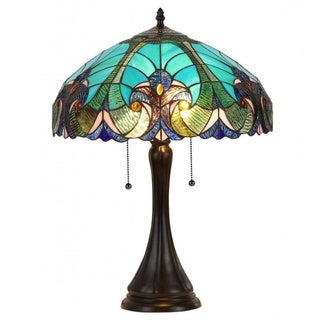 Tiffany-style Victorian 2-light Table Lamp with Blue Glass Shade