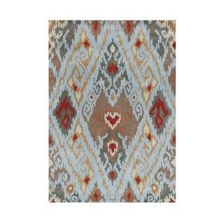 Hand-made Alliyah Cloud Blue New Zealand Blend Wool Rug (8' x 10')