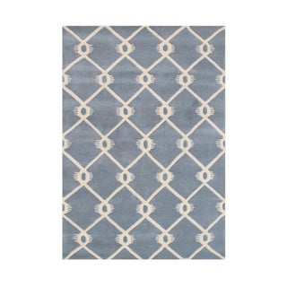 Alliyah Handmade Bluish Grey Wool Rug (8' x 10')