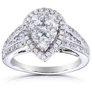 Annello 14k Gold 1ct TDW Pear Shape Diamond Ring (H-I, I1-I2) with Bonus Item