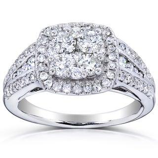 Annello 14k Gold 1ct TDW Multi Stone Cushion Diamond Ring (H-I, I1-I2)