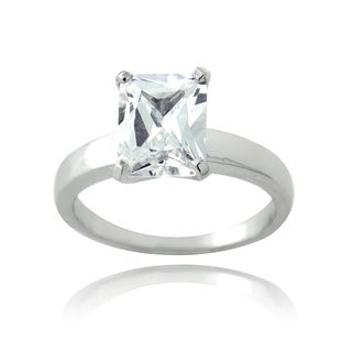 ICZ Stonez Sterling Silver 4 1/3ct TGW Cubic Zirconia Emerald Solitaire Bridal Engagement Ring