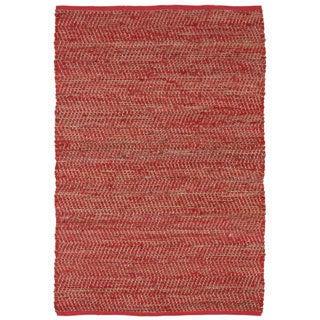 Hand Woven Red Jeans Denim & Hemp Rug (9 x 12')