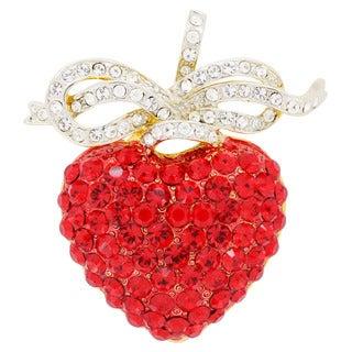 Hyacinth Heart Crystal Bow Pin Crystal Fashion Pin Brooch and Pendant