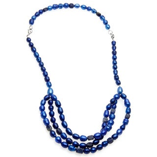 Stainless Steel 28-inch Pearl and Lapis Necklace (7-8 mm)