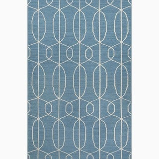Hand-Made Geometric Pattern Blue/ Ivory Wool Rug (8x10)