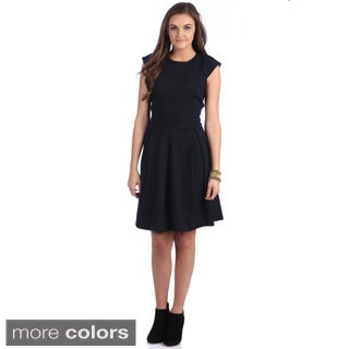 Amelia Fit and Flare Dress with Box Pleated Skirt and Gold Novelty Zipper