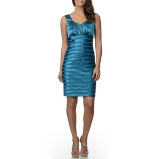 Decode 1.8 Women's Peacock Blue Satin Sheath Mini Dress