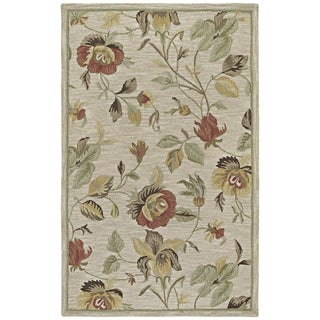 Lawrence Oatmeal Floral Hand-tufted Transitional Wool Rug (3' x 5')