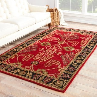 Handmade Arts and Craft Pattern Red/ Black Wool Rug (2 x 3)