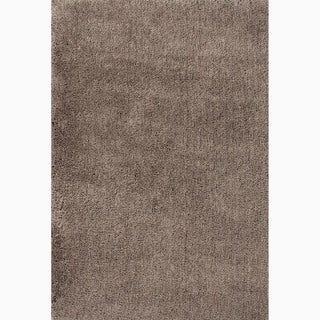 Hand-Made Solid Pattern Taupe/ Tan Polyester Rug (4X6)
