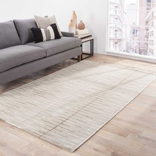 Handmade Geometric Pattern Gray/ Ivory Wool/ Art Silk Rug (9 x 12)