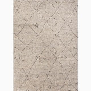 Hand-Made Ivory/ Brown Wool Textured Rug (8x10)