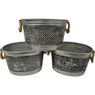 14-inch Antiqued Metal Tubs (Set of 3)