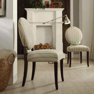 INSPIRE Q Paulina Spring Green Stripe Round Back Dining Chair (Set of 2)