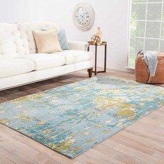 Hand-Made Abstract Pattern Blue/ Green Wool/ Bamboo Silk Rug (8x10)