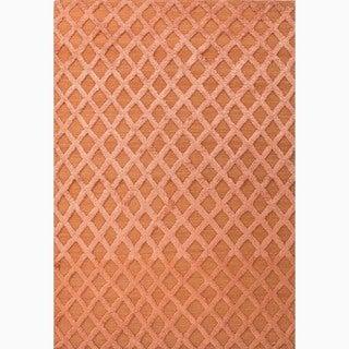 Handmade Red Wool/ Bamboo Silk Te x tured Rug (8 x 10)