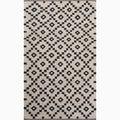 Handmade Ivory/ Black Wool Easy Care Rug (4 x 6)