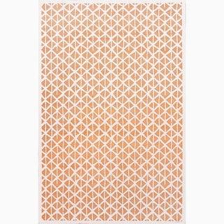 Handmade Orange/ Ivory Art Silk/ Chenille Modern Rug (7'6 x 9'6)