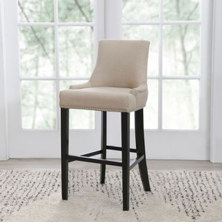 ABBYSON LIVING Newport Off-white Fabric Nailhead Trim Bar Stool