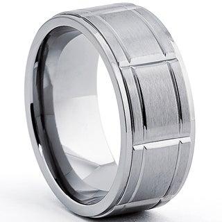 Oliveti Men's Titanium Ring With Grooves, Comfort Fit (9mm)