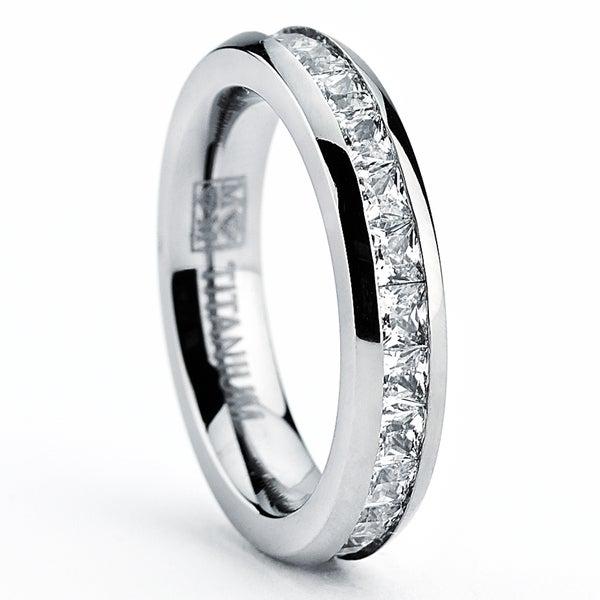 Titanium Princess-cut Cubic Zirconia Eternity Ring