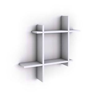Asymmetric White Laminate Square Floating Wall Shelf