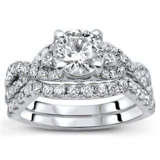 Noori 18K White Gold 1.25ct TDW Round Diamond 2-Piece Ring Set (F-G, SI1-SI2)