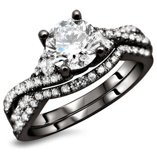 Noori 18K Black Gold 1.25ct TDW Round Diamond 2-Piece Bridal Ring Set (F-G, SI1-Si2)