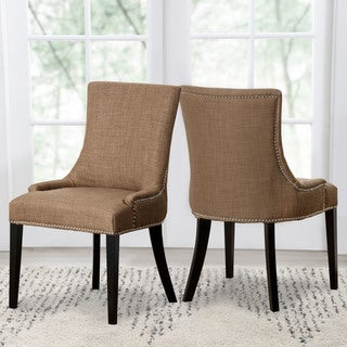 ABBYSON LIVING Newport Gold Fabric Nailhead Trim Dining Chair