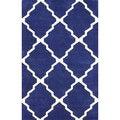 nuLOOM  Handmade New Zealand Wool/ Viscose Blue Trellis Lattice Rug (7'6 x 9'6)
